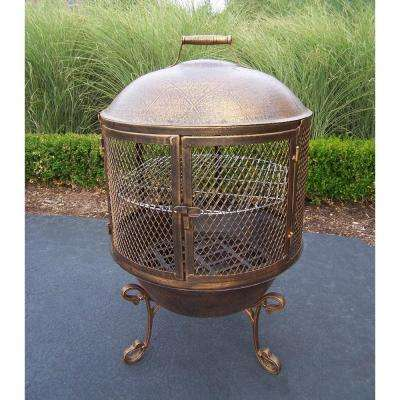 62 in. Feast Chimenea with 360° Fire View BBQ Grill Log Grate and Full Sides Spark Protective Screens and Door