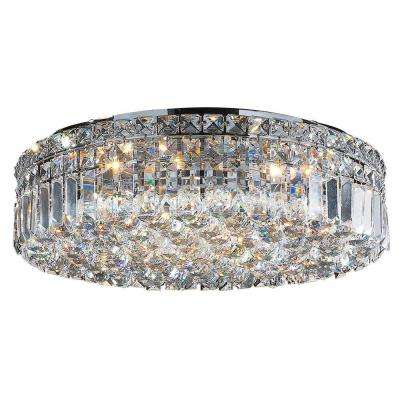 Cascade Collection 6-Light Chrome and Crystal Flushmount