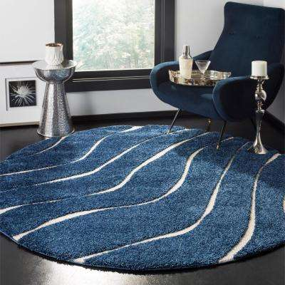 Florida Shag Dark Blue/Cream 6 ft. 7 in. x 6 ft. 7 in. Round Area Rug