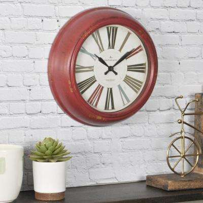 10 in. Round Red Relic Wall Clock