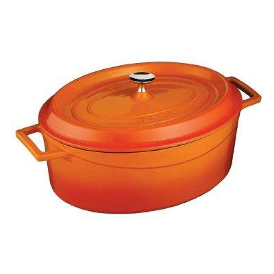Signature 5 Qt. Enameled Cast Iron Oval Dutch Oven in Orange Spice