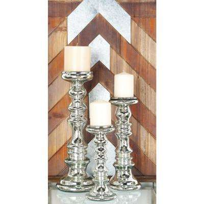 Silver Painted Glass Candle Holders (Set of 3)