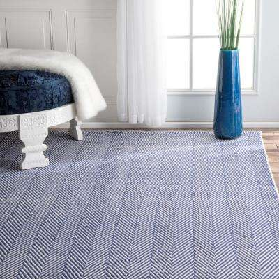 Herringbone Cotton Navy 2 ft. 6 in. x 8 ft. Runner Rug