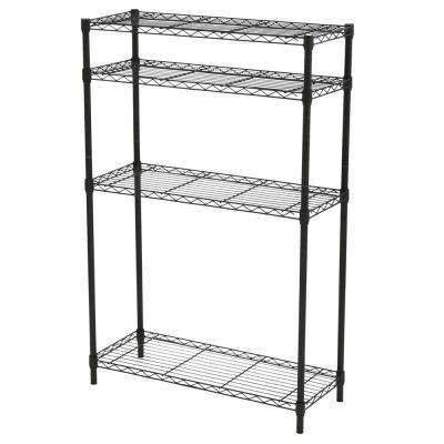 4-Tier Steel Shelving Unit in Black