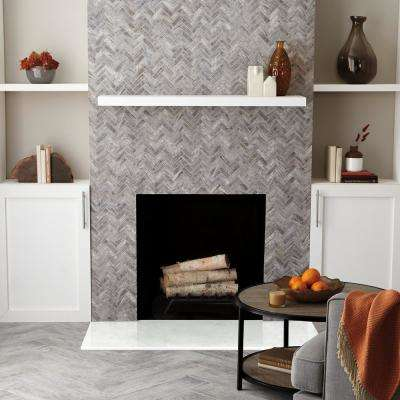 Montagna Dapple Gray 9 in. x 12 in. x 6.35 mm Ceramic Herringbone Mosaic Floor and Wall Tile (0.6 sq. ft. / piece)