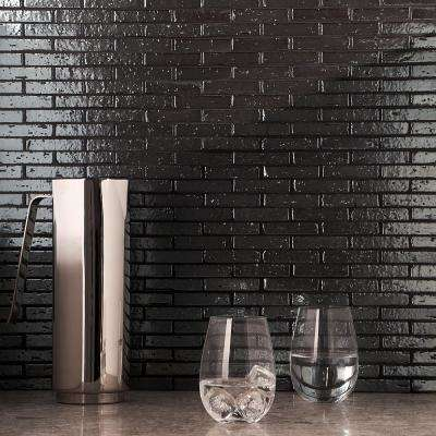 Queen Brick Metallic Black 10.6 in. x 12.75 in. 12mm Matte Clay Mosaic Wall Tile (0.94 sq. ft.)