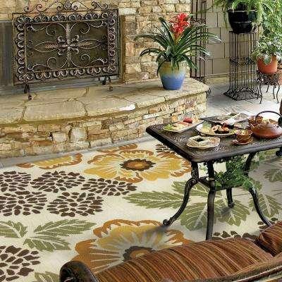 Sierra Floral Gold 8 ft. x 10 ft. Indoor/Outdoor Area Rug