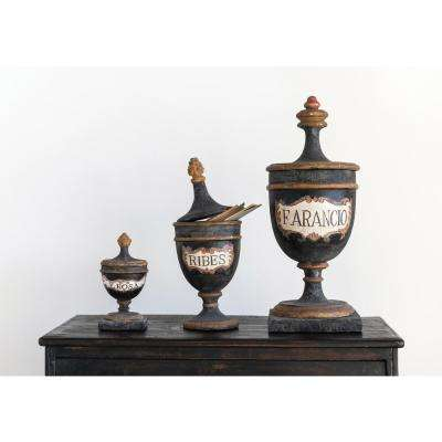 14.25 in. H Vintage Reproduction Ribes Black Magnesia Pharmacy Urn