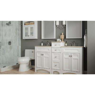 Modular 12-1/2 in. W Bathroom Vanity Storage Cabinet in White with Solid Surface Technology Top in Cappuccino