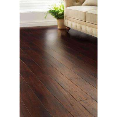 Hand Scraped Strand Woven Dark Mahogany 3/8 in. T x 5-1/8 in. W x 36 in. L Engineered Click Bamboo Flooring