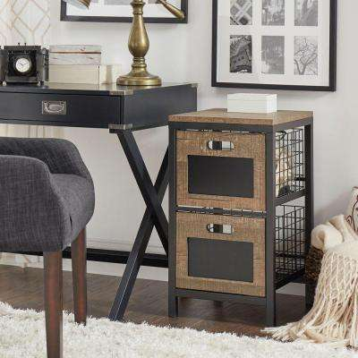 Mulvey Industrial Open 2-Drawer Metal Cabinet in Black