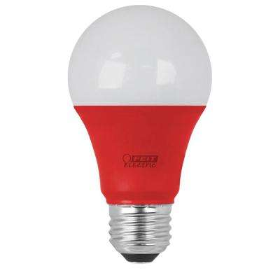 40W Equivalent A19 Red Household LED Light Bulb (Case of 4)