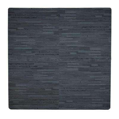 Wood Print Black 50 in. x 50 in. EVA Floor Mat Set