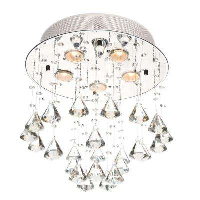 Catherine 5-Light Crystal Chrome Ceiling Lamp