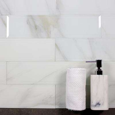 Nature Calacatta White Beveled Field 4 in. x 16 in. Glossy Glass Wall Tile (6 pc/Pk)