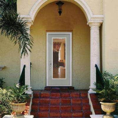 32 in. x 80 in. Full Lite Left Hand Inswing Painted Smooth Fiberglass Prehung Front Exterior Door w/ Brickmold