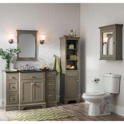 Hayward 49 in. W x 22 in. D Vanity in Warm Grey with Granite Vanity Top in Black with White Sink