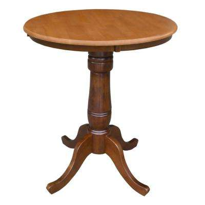 Solid Wood 30 in. Round 36 in. High Pedestal Table in Cinnamon and Espresso
