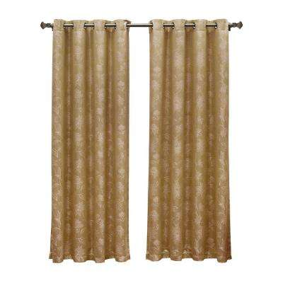 Danica Faux Embroidered Jacquard Gold Grommet Extra Wide Curtain Panel, 54 in. W x 84 in. L