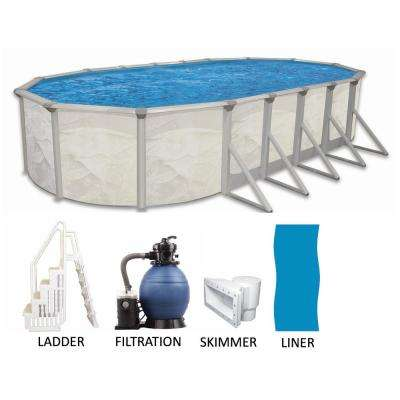 Oval 52 in. Deep Hard Sided Above Ground Pool Package with Entry Step System