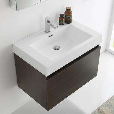Mezzo 30 in. Vanity in Gray Oak with Acrylic Vanity Top in White with White Basin and Mirrored Medicine Cabinet