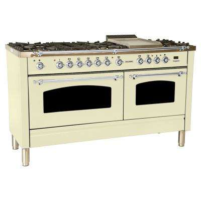 60 in. 6 cu. ft. Double Oven Dual Fuel Italian Range  True Convection, 8 Burners, Griddle, Chrome Trim in Antique White