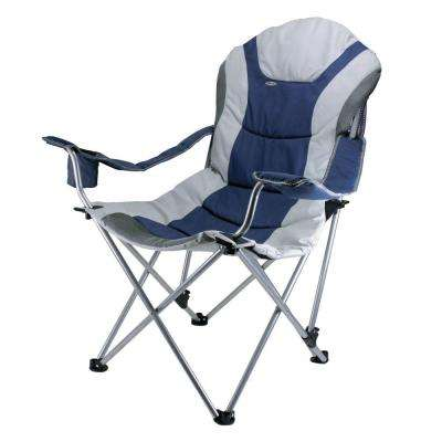 Reclining Camp Navy and Silver Grey Patio Chair