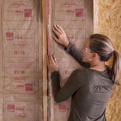 R-13 Pink EcoTouch Kraft Faced Fiberglass Insulation Continuous Roll 15 in. x 32 ft.