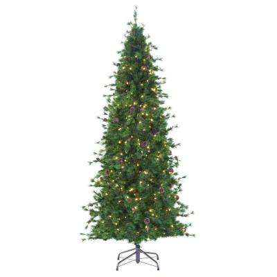 8 ft. Indoor Pre-Lit Bristle Cone Pine Slim Hinged Artificial Christmas Tree