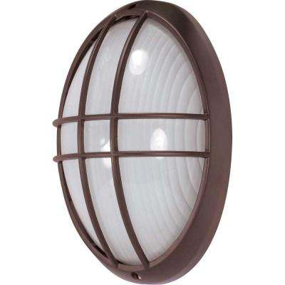 1-Light Outdoor Architectural Bronze Large Oval Cage Bulk Head with Die Cast