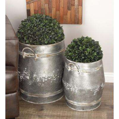 Large: 24 in; Medium: 20 in; Small: 16 in. Farmhouse Gray Aluminum Finish Metal Planters (3-Pack)