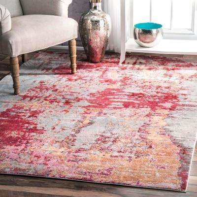 Abstract Mitzie Red 3 ft. x 8 ft. Runner Rug