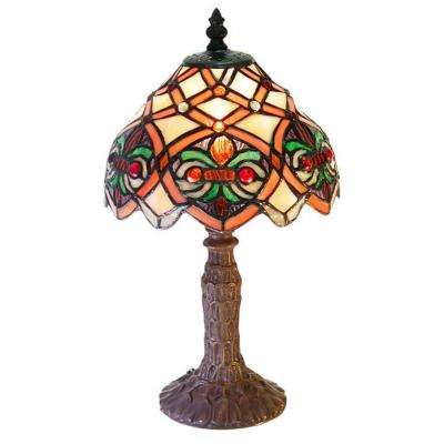 13 in. Small Arielle Multicolored Accent Brown Table Lamp