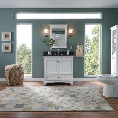Moorpark 37 in. W x 22 in. D Bath Vanity in White with Granite Vanity Top in Black