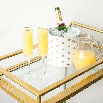 Mr. & Mrs. 8 oz. Glass Gold Rim Champagne Flutes