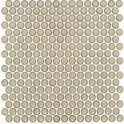 Bliss Edged Penny Round Khaki 12 in. x 12 in. x 10 mm Polished Ceramic Mosaic Tile
