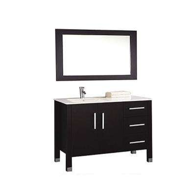 Monaco 40 in. W x 22 in. D x 36 in. H Vanity in White with Vanity Top in White with White Left Offset Basin and Mirror
