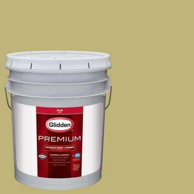 5 gal. #HDGG08U Tree Frog Green Flat Interior Paint with Primer