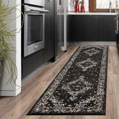 Infinity Black/Gray 2 ft. 1 in. x 7 ft. 5 in. Indoor Runner Rug