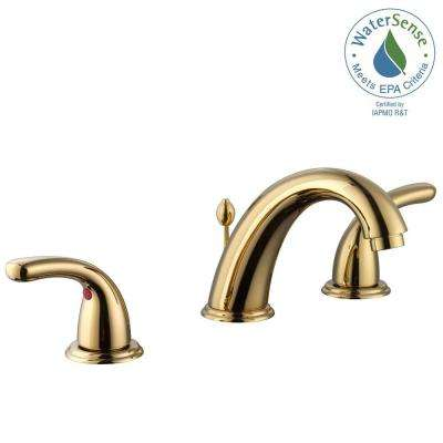 Builders 8 in. Widespread 2-Handle High-Arc Bathroom Faucet in Polished Brass