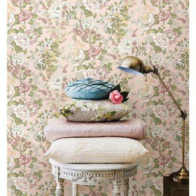 56 sq. ft. Ainsley Pink Boho Floral Wallpaper