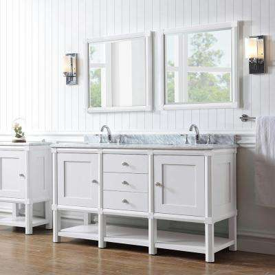 Sutton 60 in. W x 22 in. D Vanity in Bright White with Marble Vanity Top in White/Grey with White Basin