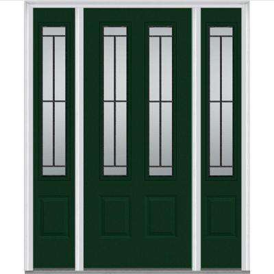 68.5 in. x 81.75 in. Madison Decorative Glass 2 Lite Painted Fiberglass Smooth Exterior Door with Sidelites