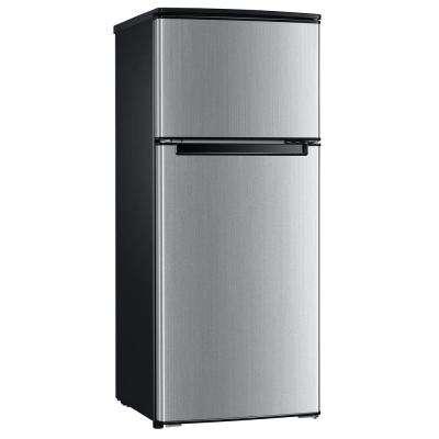 Double Door Mini Refrigerator In Stainless Look