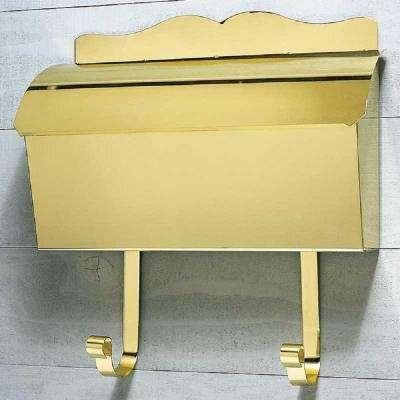 Polished Brass Wall Mount Non-Locking Mailbox