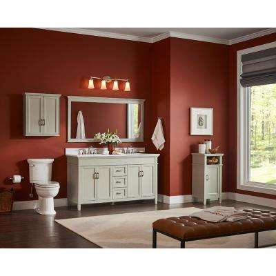 Ashburn 73 in. W x 22 in. D Double Bath Vanity in Grey with Marble Vanity Top in Carrera White