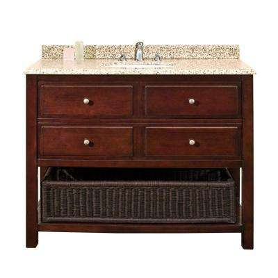 Danny 42 in. W x 21 in. D Vanity in Chocolate with Granite Vanity Top in Beige with White Basin