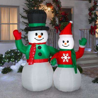 Life Size Airblown Inflatable Snowman Scene