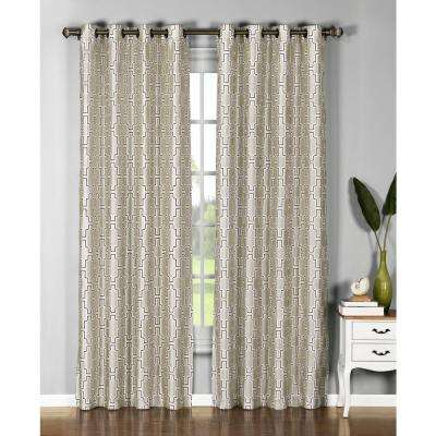 Wesley 54 in. L Faux Silk Grommet Extra Wide Curtain Panel in Beige/Chocolate