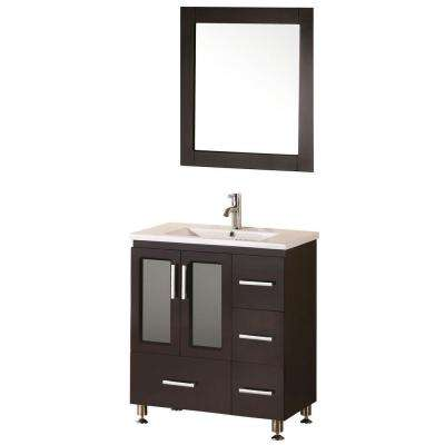 Stanton 32 in. W x 18 in. D Vanity in Espresso with Porcelain Vanity Top and Mirror in Espresso